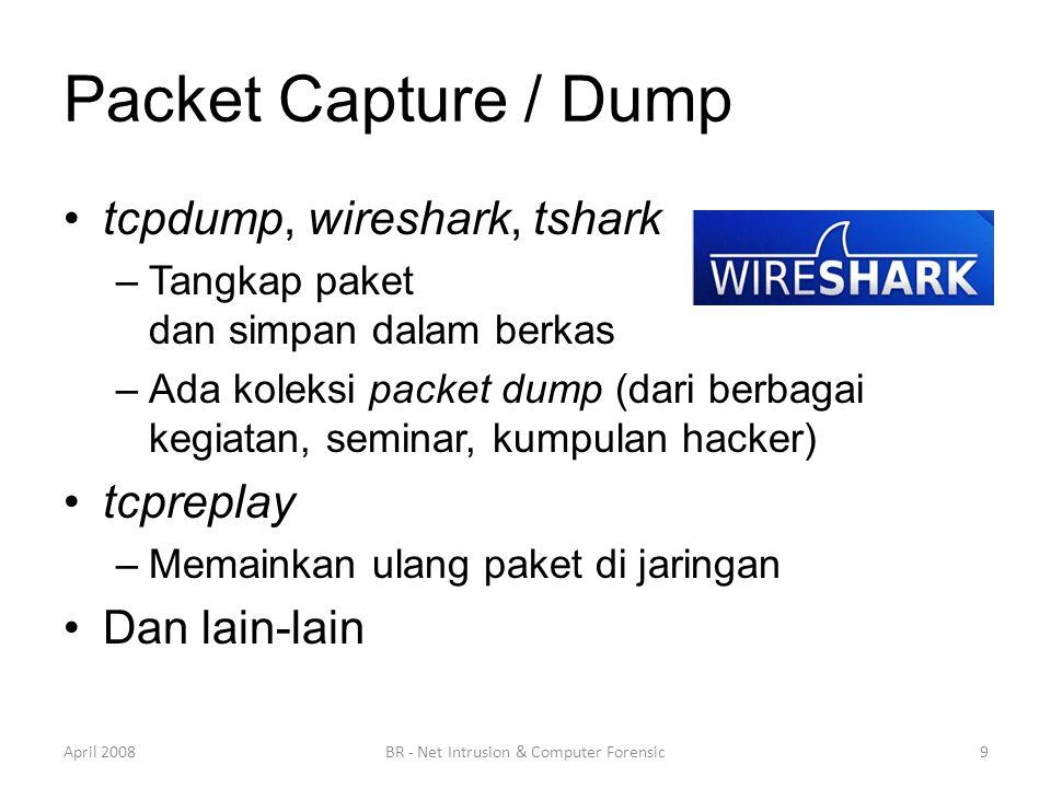 Packet Capture / Dump •tcpdump, wireshark, tshark –Tangkap paket dan simpan dalam berkas –Ada koleksi packet dump (dari berbagai kegiatan, seminar, ku
