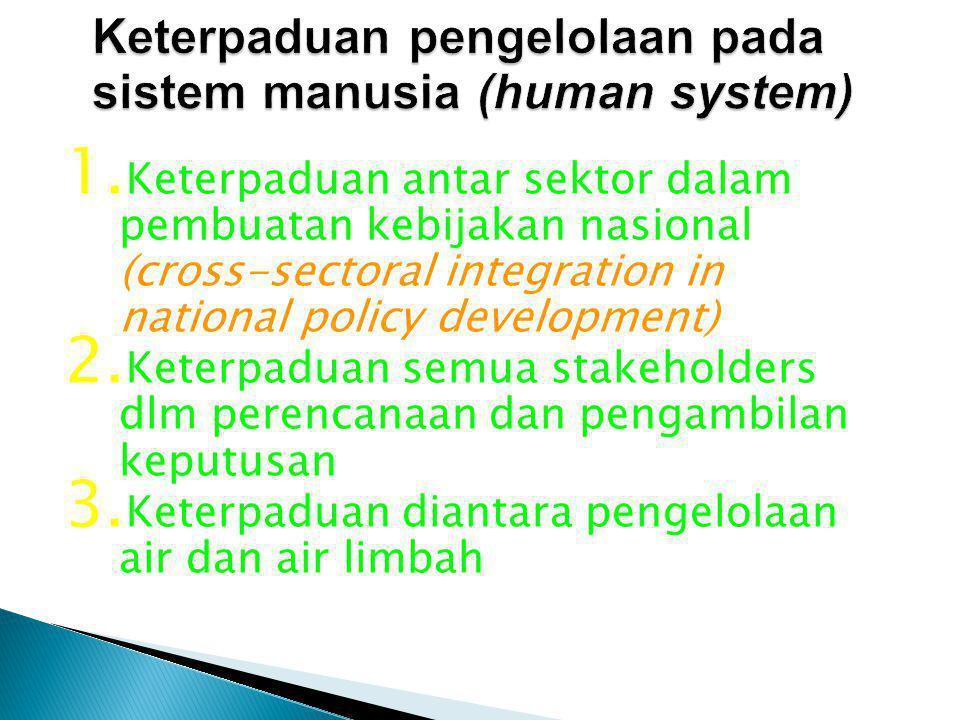 1. Keterpaduan antar sektor dalam pembuatan kebijakan nasional (cross-sectoral integration in national policy development) 2. Keterpaduan semua stakeh