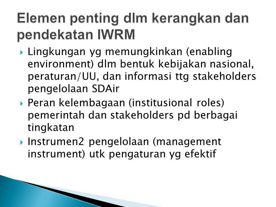  Lingkungan yg memungkinkan (enabling environment) dlm bentuk kebijakan nasional, peraturan/UU, dan informasi ttg stakeholders pengelolaan SDAir  Peran kelembagaan (institusional roles) pemerintah dan stakeholders pd berbagai tingkatan  Instrumen2 pengelolaan (management instrument) utk pengaturan yg efektif