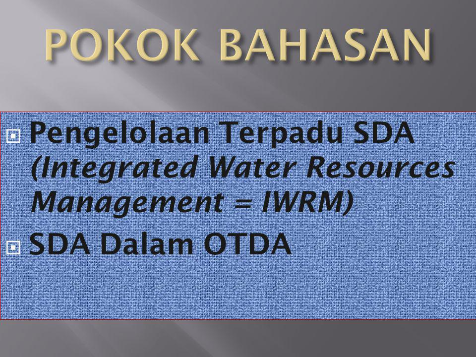  Pengelolaan Terpadu SDA (Integrated Water Resources Management = IWRM)  SDA Dalam OTDA