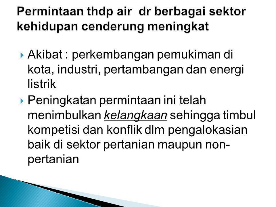  Akibat : perkembangan pemukiman di kota, industri, pertambangan dan energi listrik  Peningkatan permintaan ini telah menimbulkan kelangkaan sehingga timbul kompetisi dan konflik dlm pengalokasian baik di sektor pertanian maupun non- pertanian