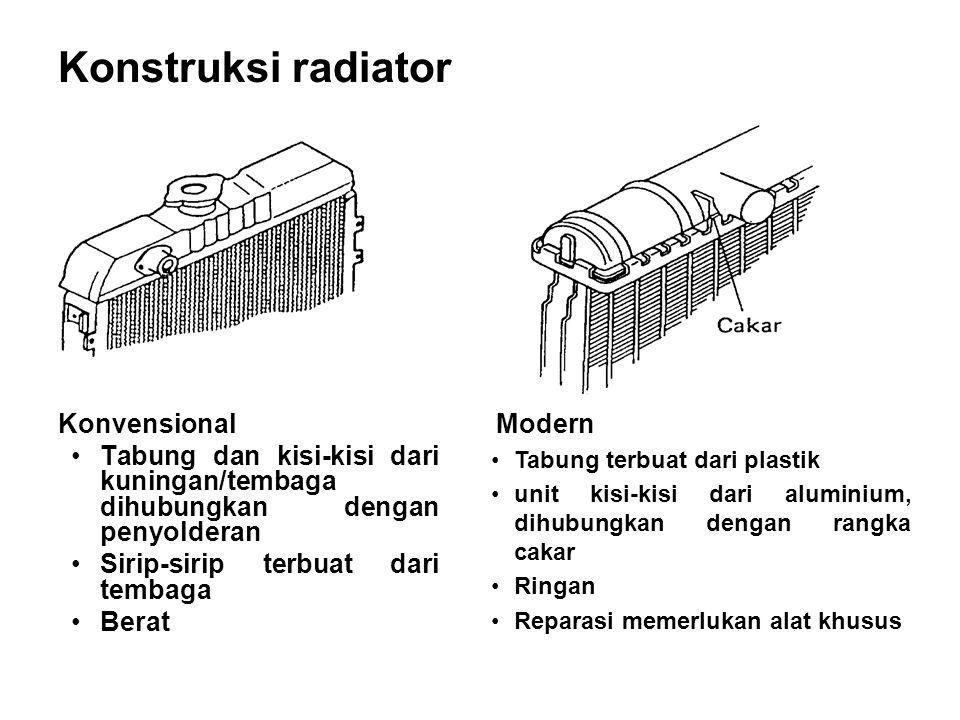 Konstruksi radiator Konvensional •Tabung dan kisi-kisi dari kuningan/tembaga dihubungkan dengan penyolderan •Sirip-sirip terbuat dari tembaga •Berat M