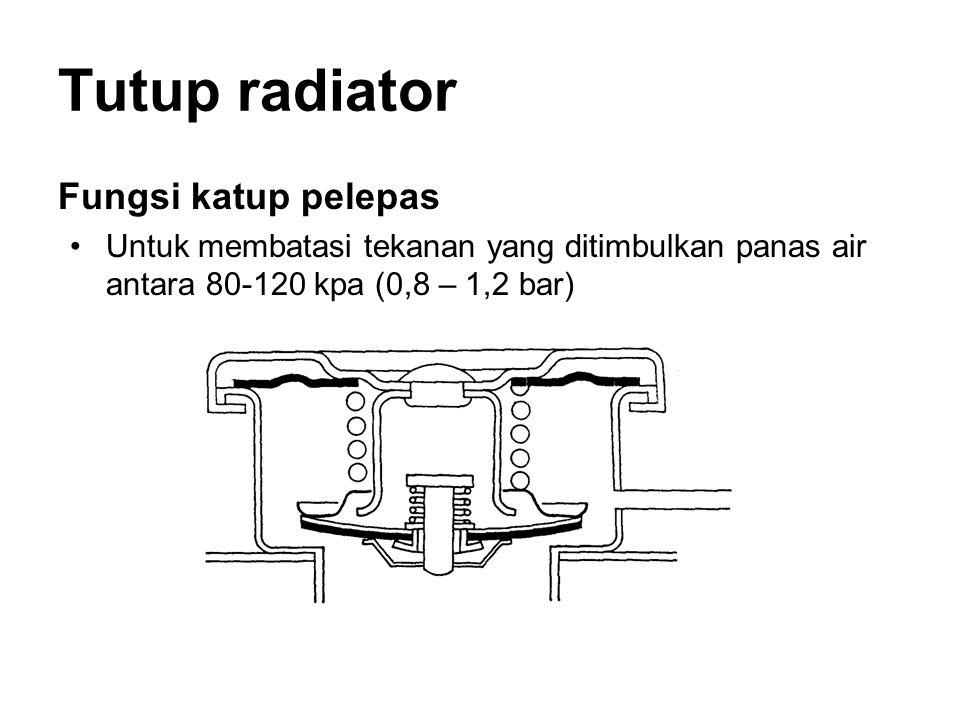 Tutup radiator Fungsi katup pelepas •Untuk membatasi tekanan yang ditimbulkan panas air antara 80-120 kpa (0,8 – 1,2 bar)