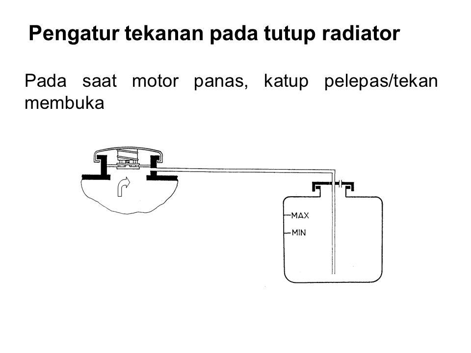 Pengatur tekanan pada tutup radiator Pada saat motor panas, katup pelepas/tekan membuka