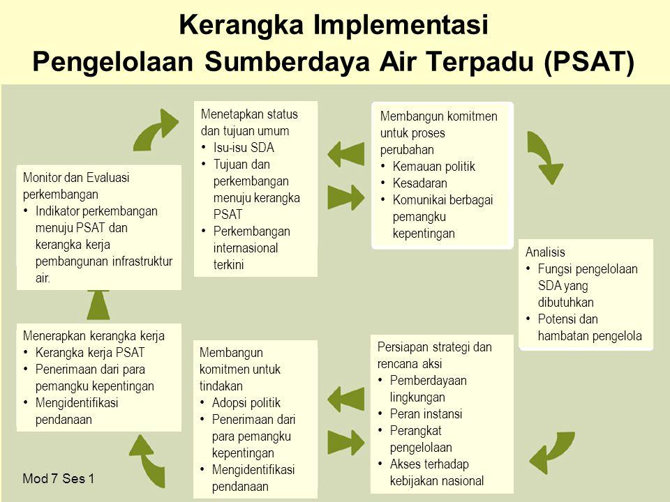 37 Kerangka Implementasi Pengelolaan Sumberdaya Air Terpadu (PSAT) Mod 7 Ses 1 Monitor dan Evaluasi perkembangan • Indikator perkembangan menuju PSAT dan kerangka kerja pembangunan infrastruktur air.