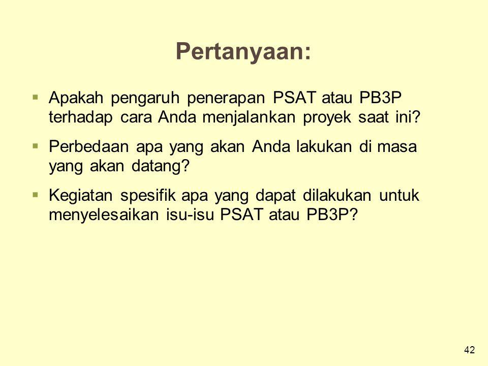42 Pertanyaan:  Apakah pengaruh penerapan PSAT atau PB3P terhadap cara Anda menjalankan proyek saat ini.