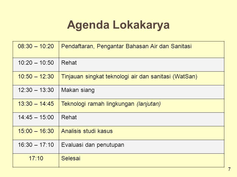 7 Agenda Lokakarya 08:30 – 10:20Pendaftaran, Pengantar Bahasan Air dan Sanitasi 10:20 – 10:50Rehat 10:50 – 12:30Tinjauan singkat teknologi air dan sanitasi (WatSan) 12:30 – 13:30Makan siang 13:30 – 14:45Teknologi ramah lingkungan (lanjutan) 14:45 – 15:00Rehat 15:00 – 16:30Analisis studi kasus 16:30 – 17:10Evaluasi dan penutupan 17:10Selesai