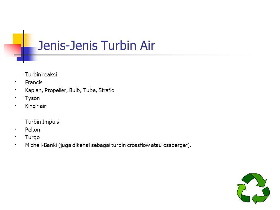 Turbin reaksi ·Francis ·Kaplan, Propeller, Bulb, Tube, Straflo ·Tyson ·Kincir air Turbin Impuls ·Pelton ·Turgo ·Michell-Banki (juga dikenal sebagai tu