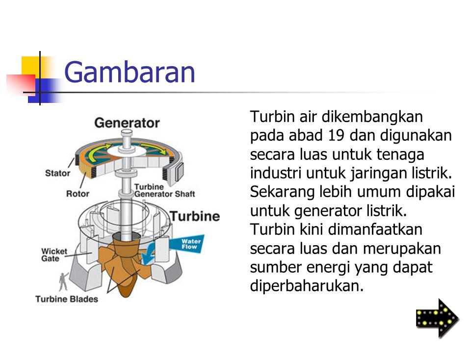 Gambaran Turbin air dikembangkan pada abad 19 dan digunakan secara luas untuk tenaga industri untuk jaringan listrik. Sekarang lebih umum dipakai untu