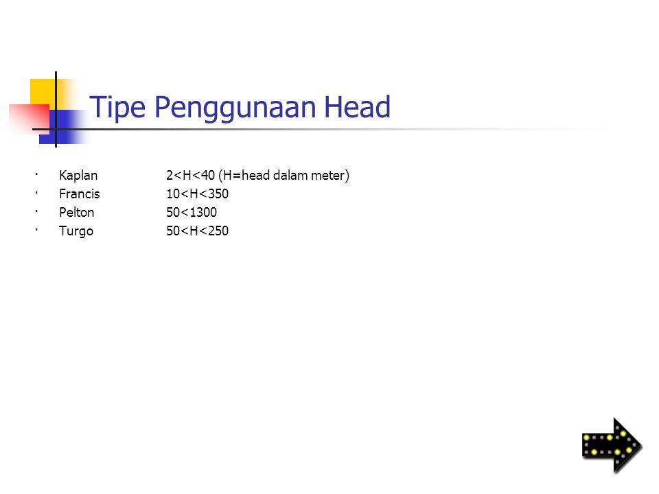 Tipe Penggunaan Head ·Kaplan2<H<40 (H=head dalam meter) ·Francis10<H<350 ·Pelton50<1300 ·Turgo50<H<250