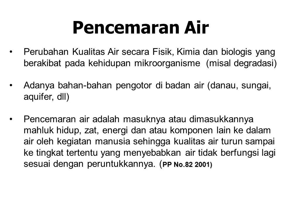 Pencemaran Air •Perubahan Kualitas Air secara Fisik, Kimia dan biologis yang berakibat pada kehidupan mikroorganisme (misal degradasi) •Adanya bahan-b