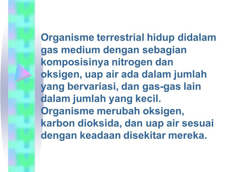 Organisme terrestrial hidup didalam gas medium dengan sebagian komposisinya nitrogen dan oksigen, uap air ada dalam jumlah yang bervariasi, dan gas-ga