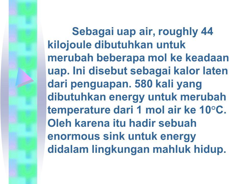 Sebagai uap air, roughly 44 kilojoule dibutuhkan untuk merubah beberapa mol ke keadaan uap. Ini disebut sebagai kalor laten dari penguapan. 580 kali y