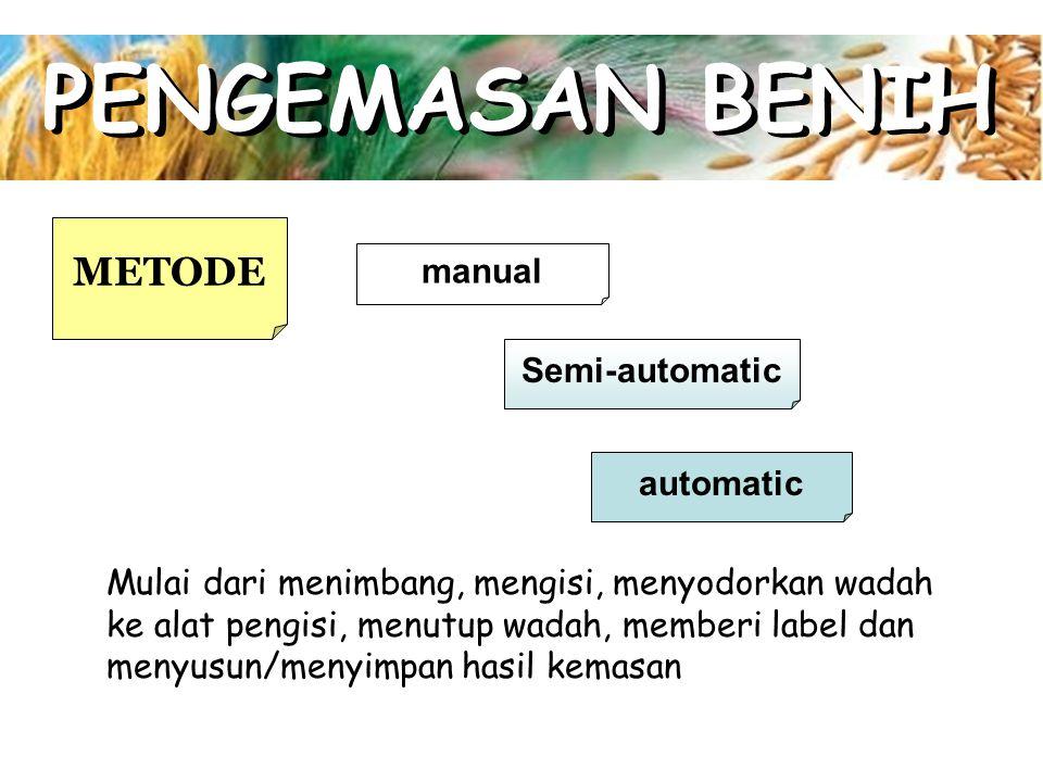 PENGEMASAN BENIH METODE manual Semi-automatic automatic Mulai dari menimbang, mengisi, menyodorkan wadah ke alat pengisi, menutup wadah, memberi label