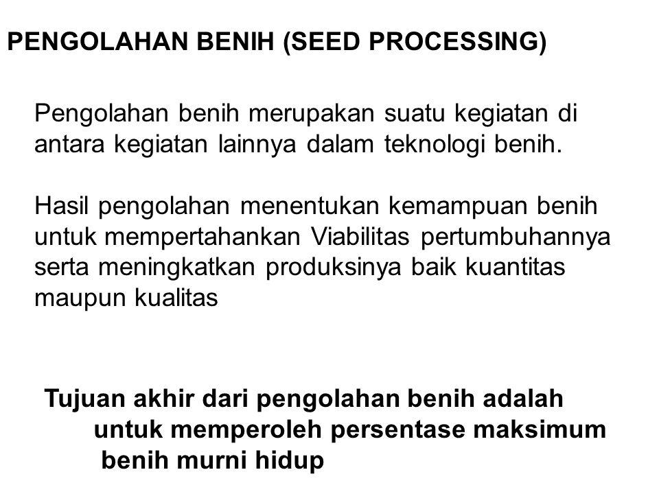 PENGOLAHAN BENIH (SEED PROCESSING) Pengolahan benih merupakan suatu kegiatan di antara kegiatan lainnya dalam teknologi benih. Hasil pengolahan menent