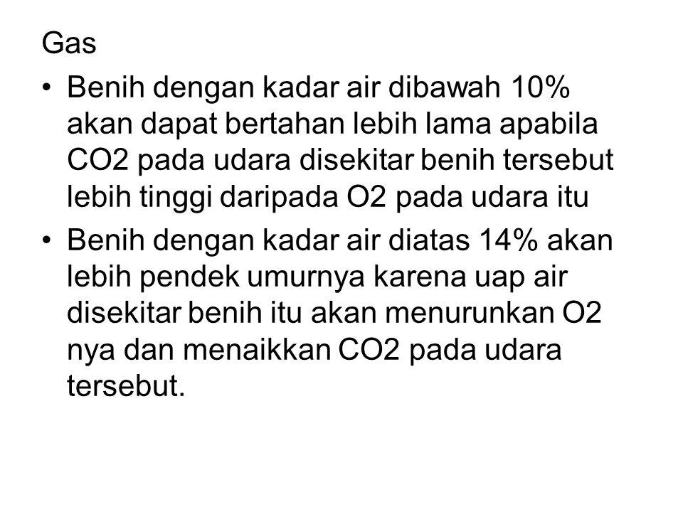 Gas •Benih dengan kadar air dibawah 10% akan dapat bertahan lebih lama apabila CO2 pada udara disekitar benih tersebut lebih tinggi daripada O2 pada u