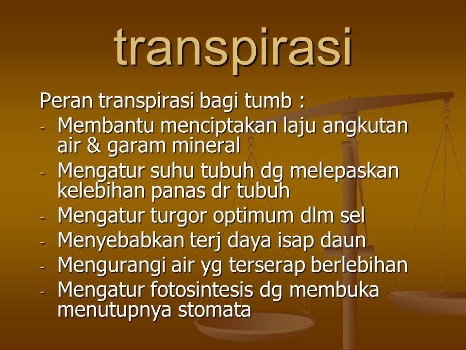 transpirasi Peran transpirasi bagi tumb : - Membantu menciptakan laju angkutan air & garam mineral - Mengatur suhu tubuh dg melepaskan kelebihan panas