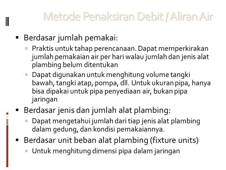 Metode Penaksiran Debit / Aliran Air  Berdasar jumlah pemakai:  Praktis untuk tahap perencanaan.
