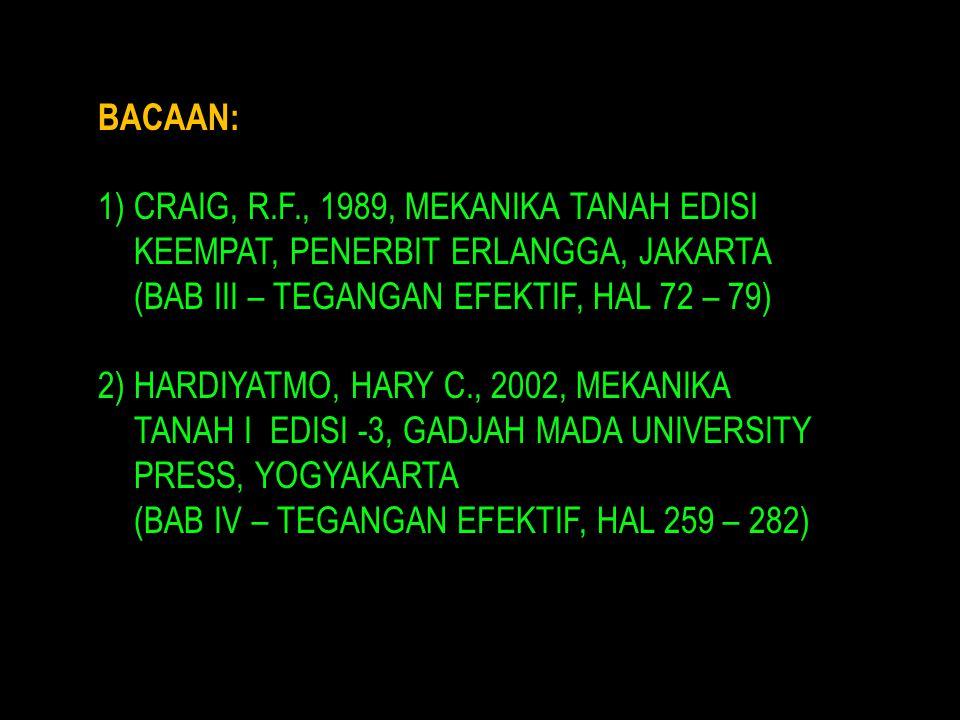 BACAAN: 1)CRAIG, R.F., 1989, MEKANIKA TANAH EDISI KEEMPAT, PENERBIT ERLANGGA, JAKARTA (BAB III – TEGANGAN EFEKTIF, HAL 72 – 79) 2)HARDIYATMO, HARY C., 2002, MEKANIKA TANAH I EDISI -3, GADJAH MADA UNIVERSITY PRESS, YOGYAKARTA (BAB IV – TEGANGAN EFEKTIF, HAL 259 – 282)