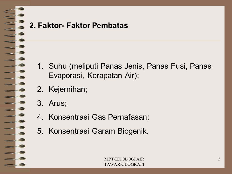MPT/EKOLOGI AIR TAWAR/GEOGRAFI 3 2. Faktor- Faktor Pembatas 1.Suhu (meliputi Panas Jenis, Panas Fusi, Panas Evaporasi, Kerapatan Air); 2.Kejernihan; 3