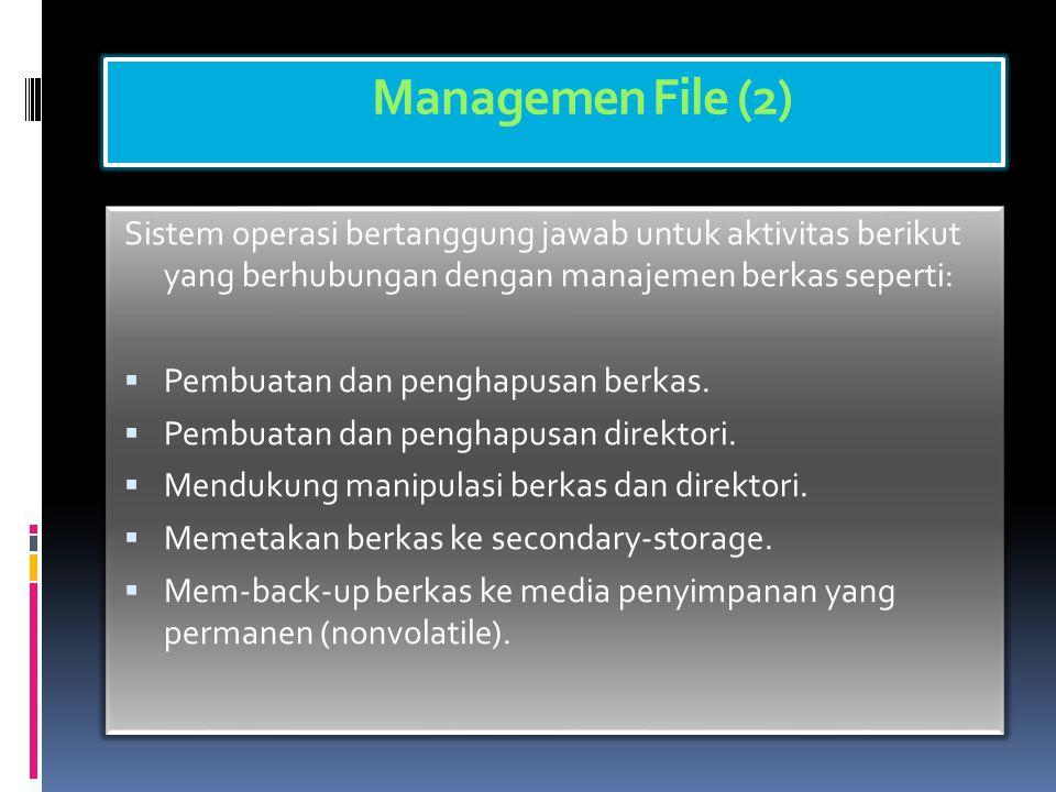 Managemen File (1)  Berkas adalah kumpulan informasi yang berhubungan, sesuai dengan tujuan pembuat berkas tersebut.  Umumnya berkas merepresentasik