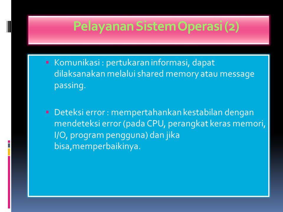 Pelayanan Sistem Operasi (1)  Eksekusi program: meload program ke memory dan menjalankannya (run).  Operasi I/O : pengguna tidak bisa mengontrol I/O