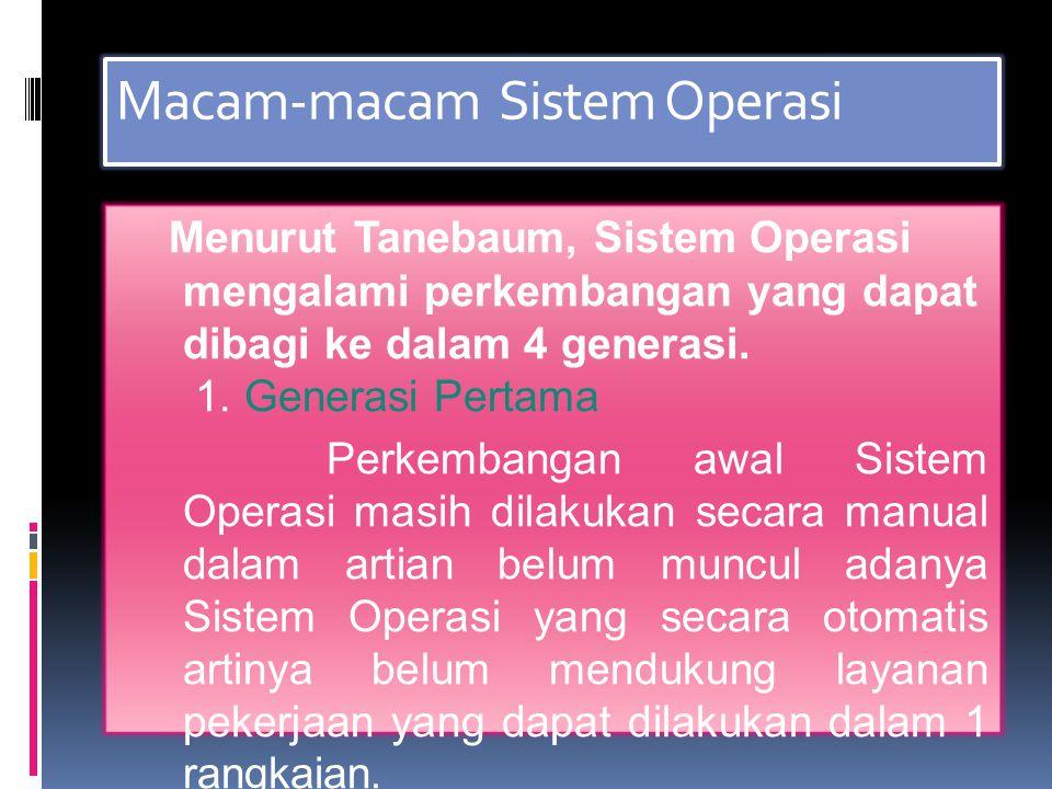 Macam-macam Sistem Operasi Menurut Tanebaum, Sistem Operasi mengalami perkembangan yang dapat dibagi ke dalam 4 generasi.