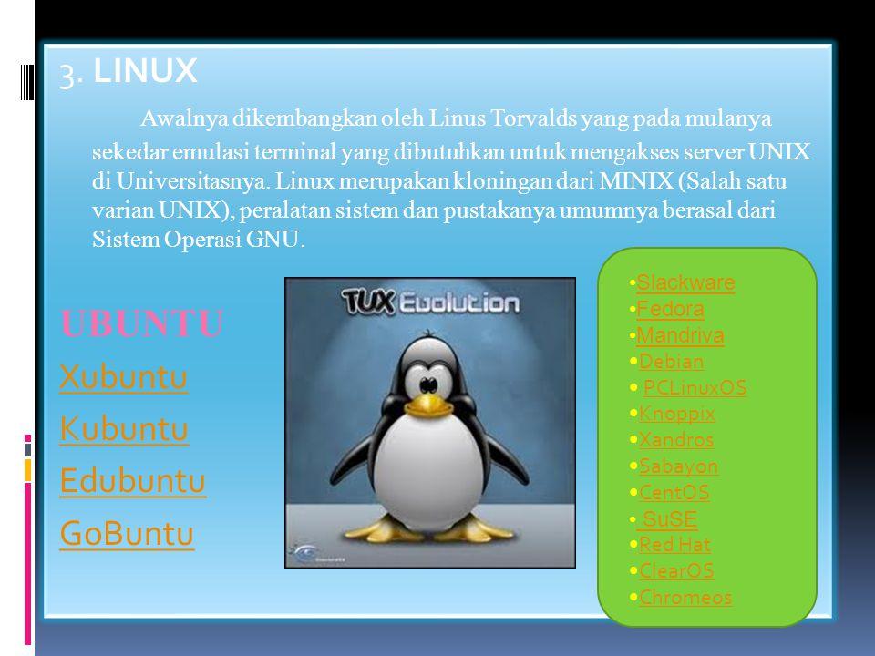2. UNIX UNIX adalah Sistem Operasi yang diciptakan oleh Ken Thompson dan Dennis Ritchie, dikembangkan oleh AT&T Bell Labs. UNIX didesain sebagai Siste