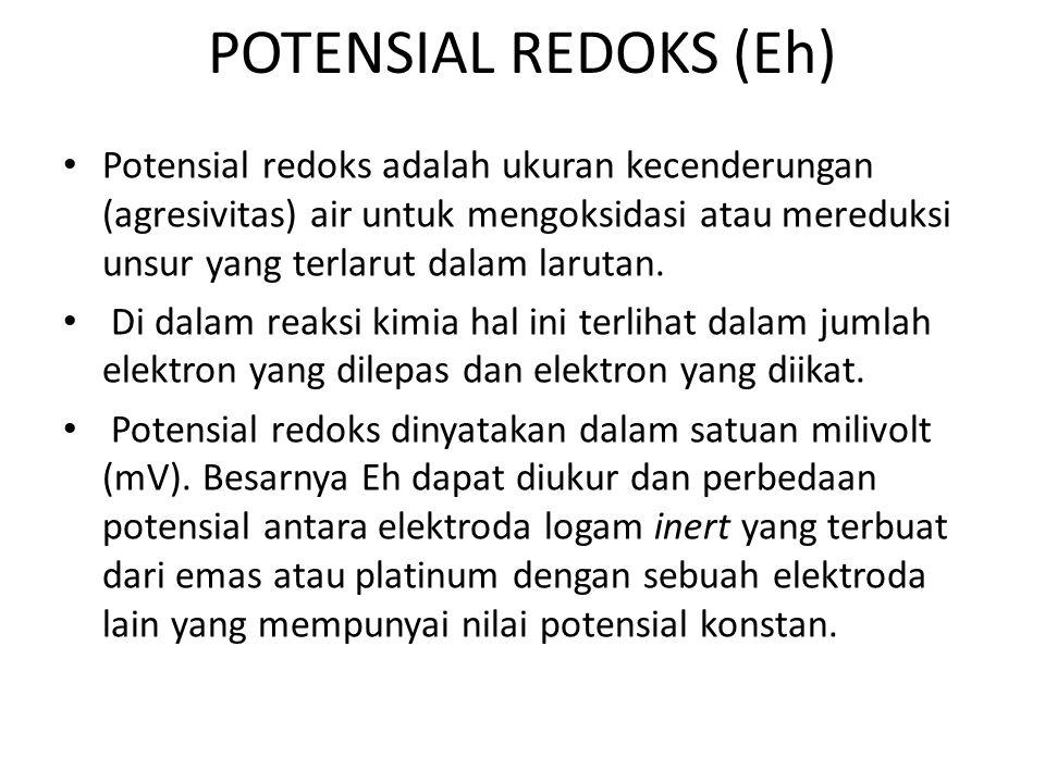 POTENSIAL REDOKS (Eh) • Potensial redoks adalah ukuran kecenderungan (agresivitas) air untuk mengoksidasi atau mereduksi unsur yang terlarut dalam la