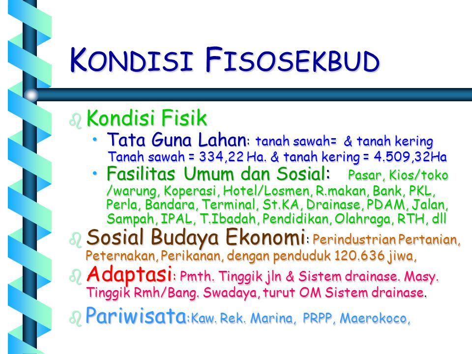 K ONDISI F ISOSEKBUD b Kondisi Fisik •Tata Guna Lahan : tanah sawah= & tanah kering Tanah sawah = 334,22 Ha. & tanah kering = 4.509,32Ha Tanah sawah =