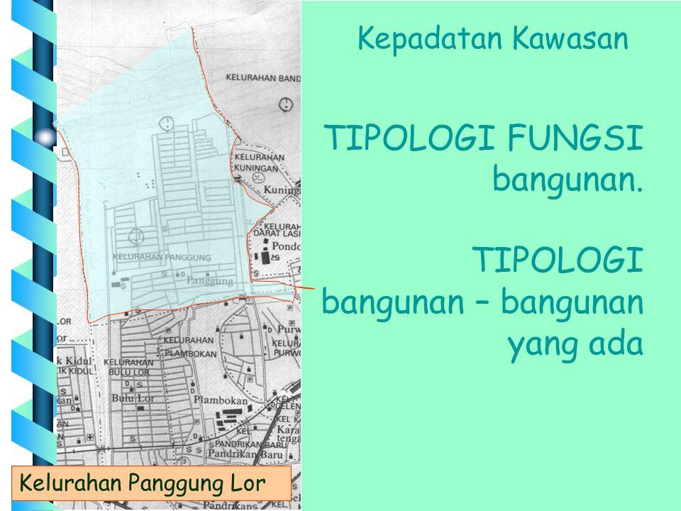 Kelurahan Panggung Lor Kepadatan Kawasan TIPOLOGI FUNGSI bangunan. TIPOLOGI bangunan – bangunan yang ada