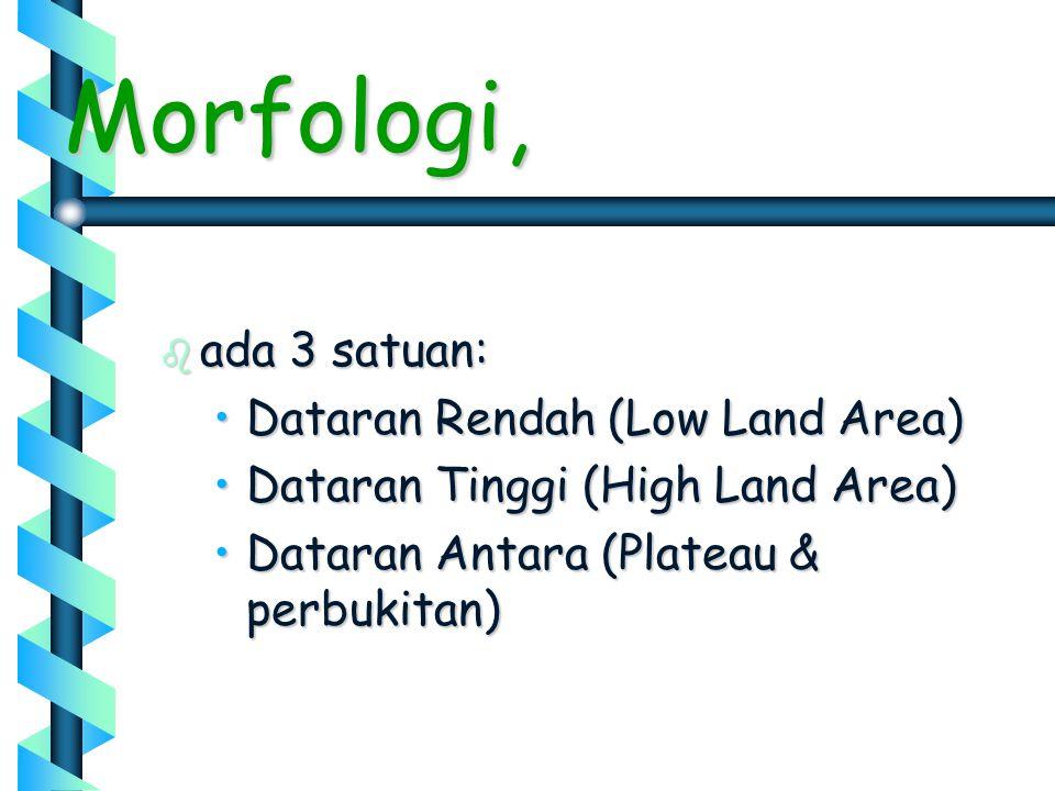 b ada 3 satuan: •Dataran Rendah (Low Land Area) •Dataran Tinggi (High Land Area) •Dataran Antara (Plateau & perbukitan) Morfologi,