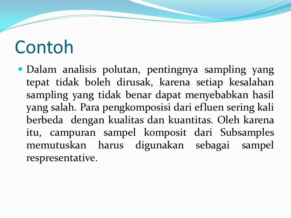 Contoh  Dalam analisis polutan, pentingnya sampling yang tepat tidak boleh dirusak, karena setiap kesalahan sampling yang tidak benar dapat menyebabk