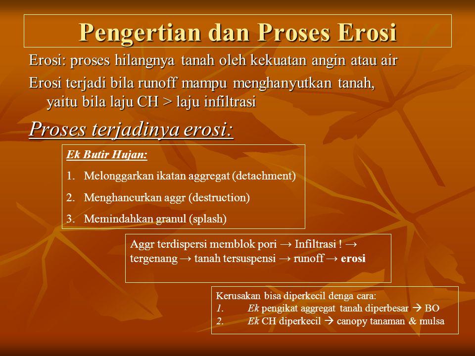 Pengertian dan Proses Erosi Erosi: proses hilangnya tanah oleh kekuatan angin atau air Erosi terjadi bila runoff mampu menghanyutkan tanah, yaitu bila