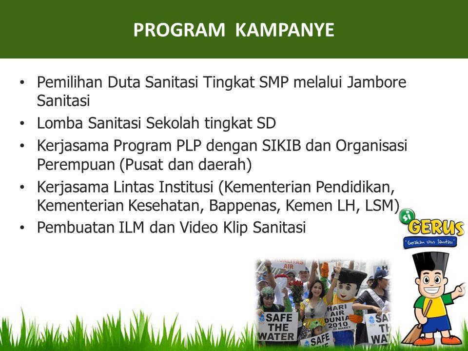 • Pemilihan Duta Sanitasi Tingkat SMP melalui Jambore Sanitasi • Lomba Sanitasi Sekolah tingkat SD • Kerjasama Program PLP dengan SIKIB dan Organisasi