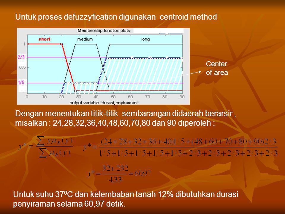 Center of area Untuk proses defuzzyfication digunakan centroid method Dengan menentukan titik-titik sembarangan didaerah berarsir, misalkan : 24,28,32,36,40,48,60,70,80 dan 90 diperoleh : Untuk suhu 37 0 C dan kelembaban tanah 12% dibutuhkan durasi penyiraman selama 60,97 detik.