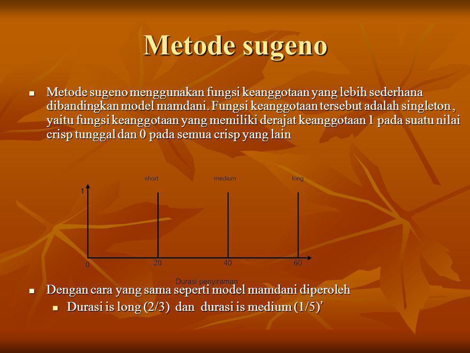 Metode sugeno  Metode sugeno menggunakan fungsi keanggotaan yang lebih sederhana dibandingkan model mamdani. Fungsi keanggotaan tersebut adalah singl