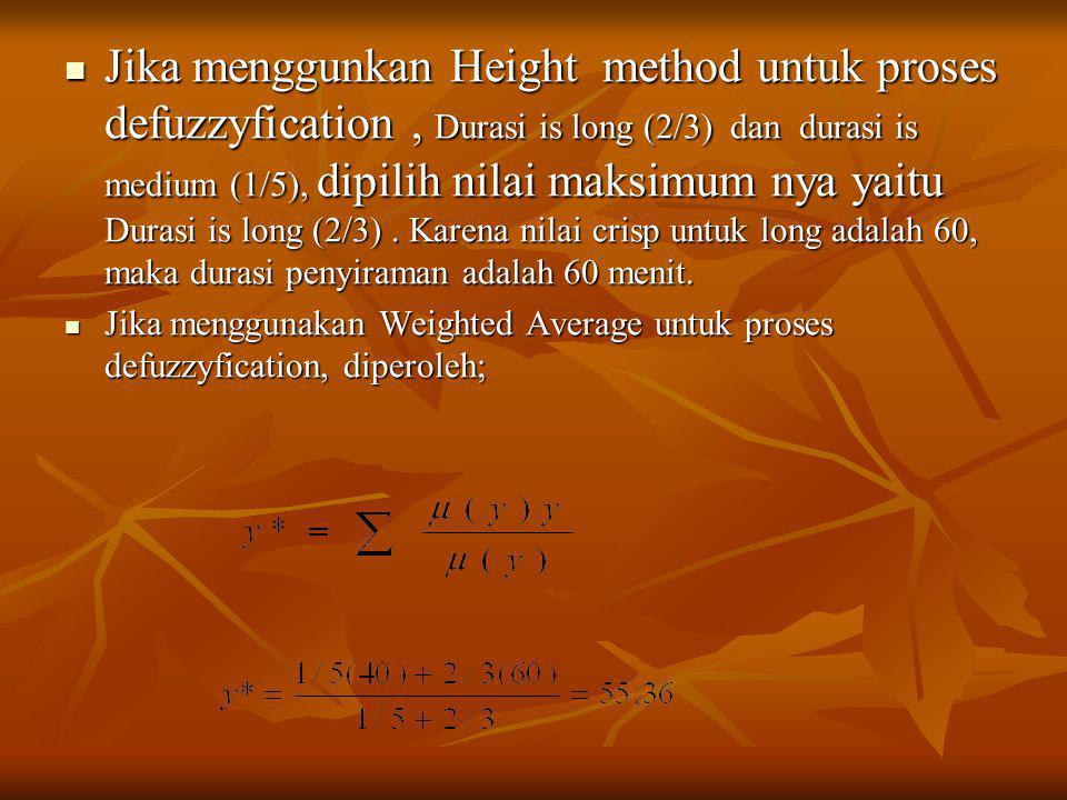  Jika menggunkan Height method untuk proses defuzzyfication, Durasi is long (2/3) dan durasi is medium (1/5), dipilih nilai maksimum nya yaitu Durasi is long (2/3).