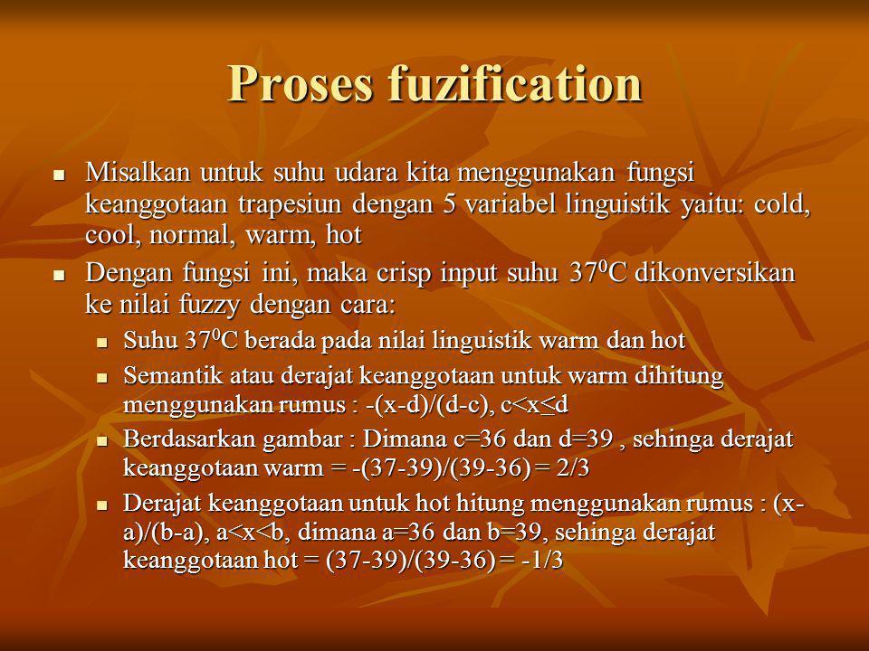 Proses fuzification  Misalkan untuk suhu udara kita menggunakan fungsi keanggotaan trapesiun dengan 5 variabel linguistik yaitu: cold, cool, normal,