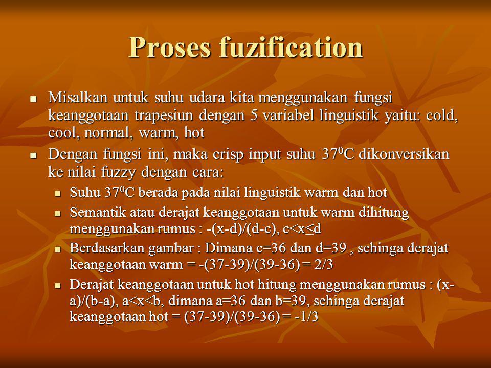 Proses fuzification  Misalkan untuk suhu udara kita menggunakan fungsi keanggotaan trapesiun dengan 5 variabel linguistik yaitu: cold, cool, normal, warm, hot  Dengan fungsi ini, maka crisp input suhu 37 0 C dikonversikan ke nilai fuzzy dengan cara:  Suhu 37 0 C berada pada nilai linguistik warm dan hot  Semantik atau derajat keanggotaan untuk warm dihitung menggunakan rumus : -(x-d)/(d-c), c<x≤d  Berdasarkan gambar : Dimana c=36 dan d=39, sehinga derajat keanggotaan warm = -(37-39)/(39-36) = 2/3  Derajat keanggotaan untuk hot hitung menggunakan rumus : (x- a)/(b-a), a<x<b, dimana a=36 dan b=39, sehinga derajat keanggotaan hot = (37-39)/(39-36) = -1/3
