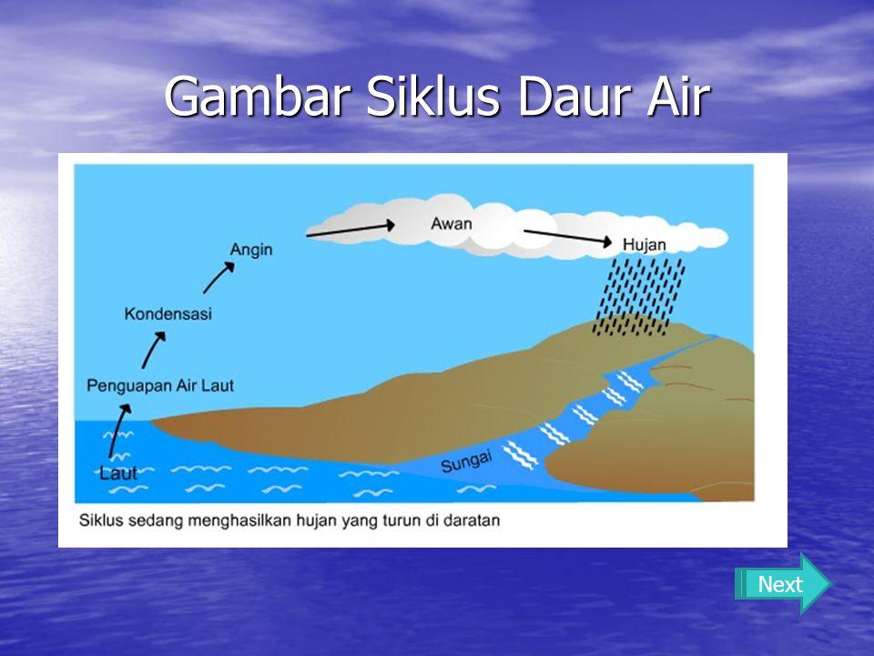 Proses Siklus Daur Air Air yang ada di permukaan bumi mengalami penguapan, yaitu berubah menjadi uap air.