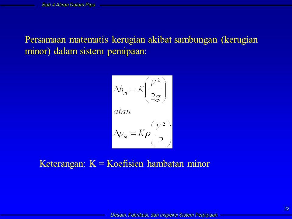 Bab 4 Aliran Dalam Pipa Desain, Fabrikasi, dan inspeksi Sistem Perpipaan 22 Persamaan matematis kerugian akibat sambungan (kerugian minor) dalam siste