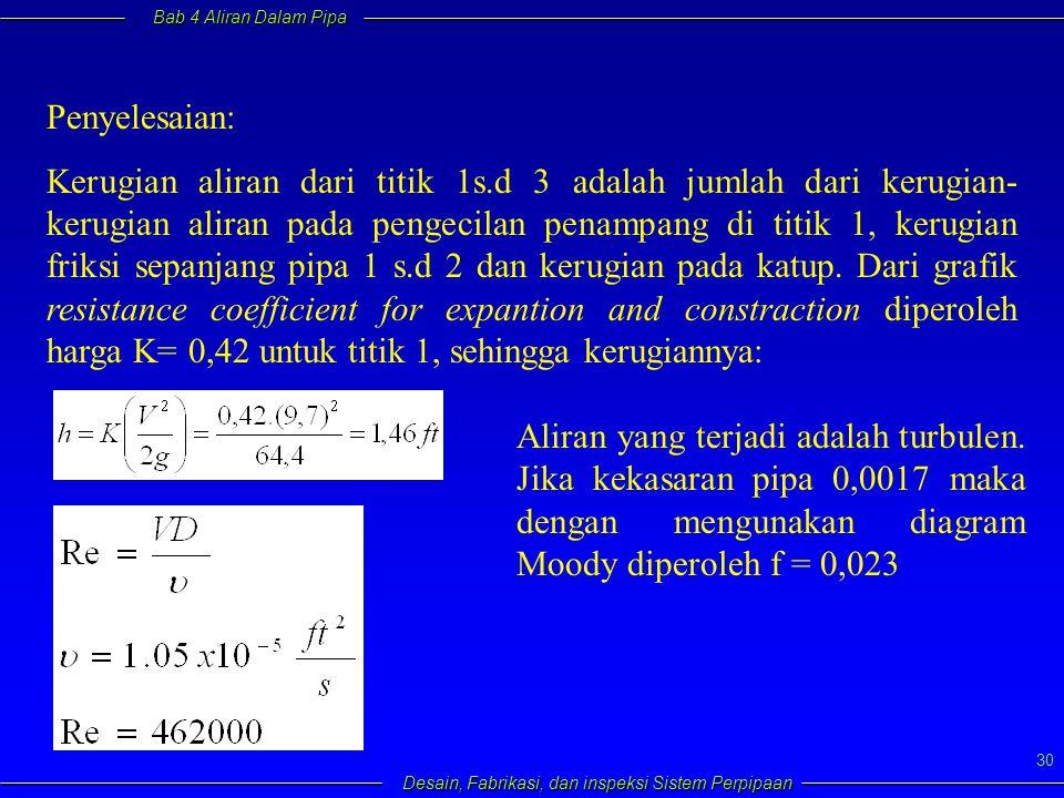 Bab 4 Aliran Dalam Pipa Desain, Fabrikasi, dan inspeksi Sistem Perpipaan 30 Penyelesaian: Kerugian aliran dari titik 1s.d 3 adalah jumlah dari kerugia
