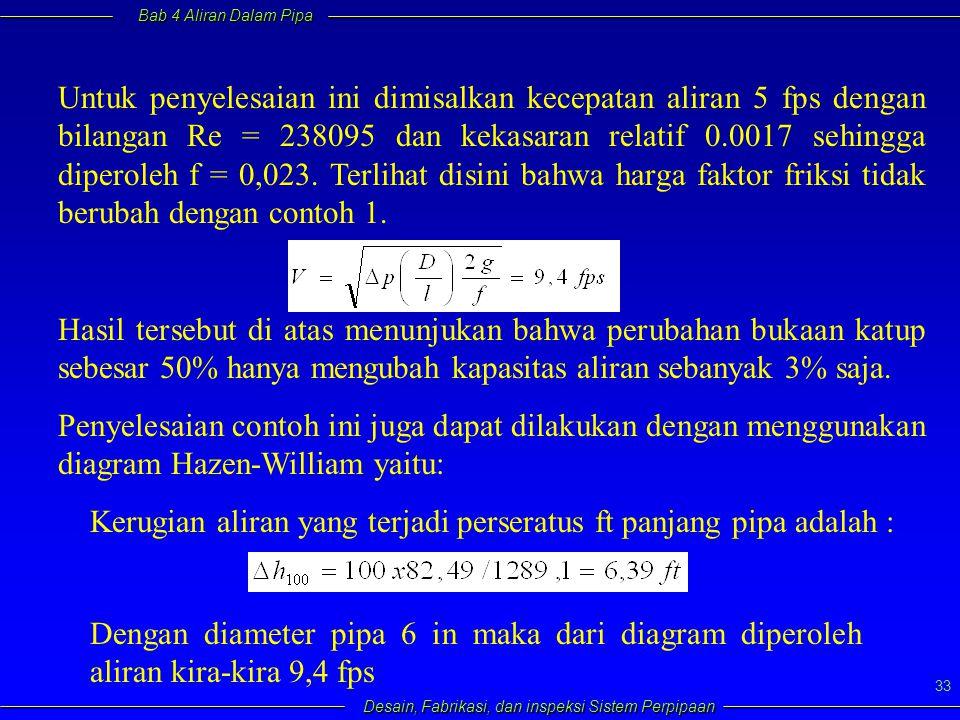 Bab 4 Aliran Dalam Pipa Desain, Fabrikasi, dan inspeksi Sistem Perpipaan 33 Untuk penyelesaian ini dimisalkan kecepatan aliran 5 fps dengan bilangan R