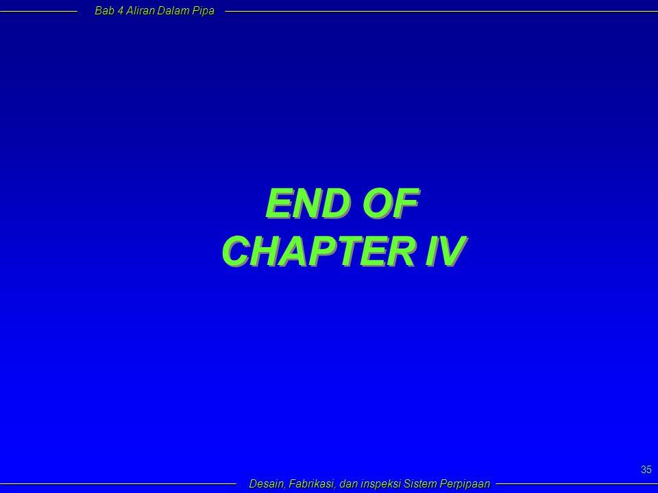 Bab 4 Aliran Dalam Pipa Desain, Fabrikasi, dan inspeksi Sistem Perpipaan 35 END OF CHAPTER IV END OF CHAPTER IV