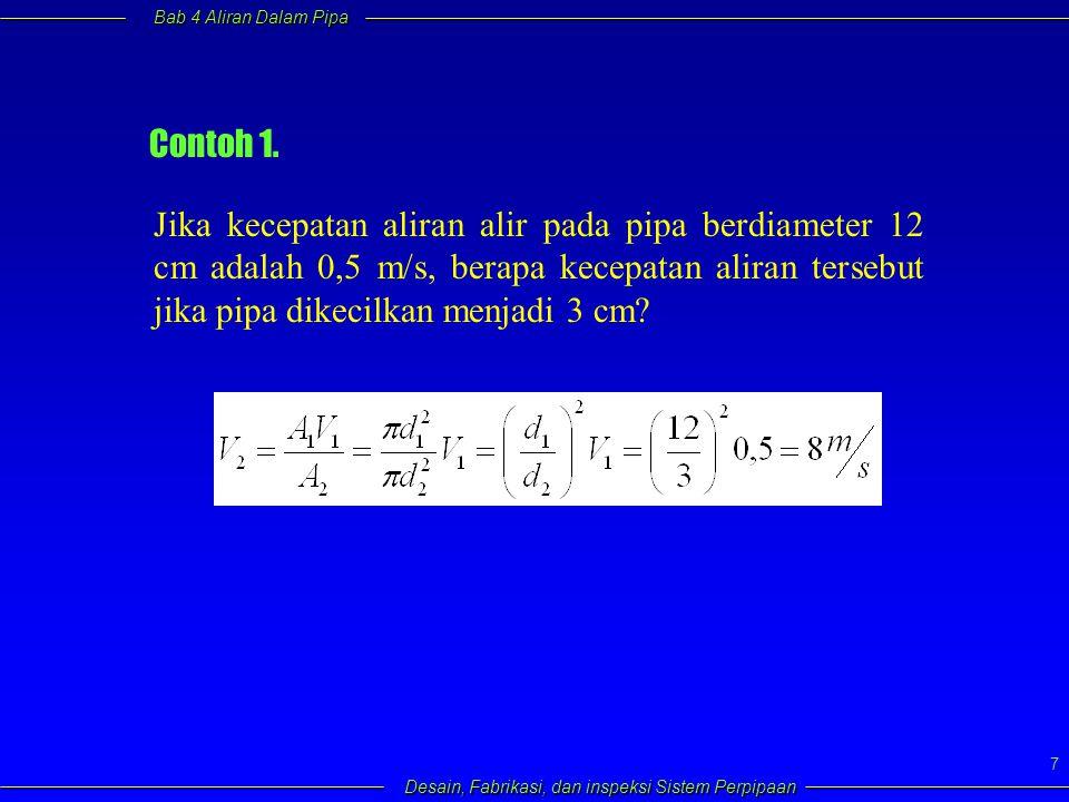 Bab 4 Aliran Dalam Pipa Desain, Fabrikasi, dan inspeksi Sistem Perpipaan 8 4.5 Persamaan Bernoulli  Merupakan salah satu bentuk penerapan hukum kelestarian energi  Prinsipnya adalah energi pada dua titik yang dianalisis haruslah sama  Untuk aliran steady dan fluida inkompressibel (perubahan energi dalam diabaikan) persamaan yang diperoleh adalah : Dimana: Z = ketinggian H L = head loss dari titik 1 ke titik 2