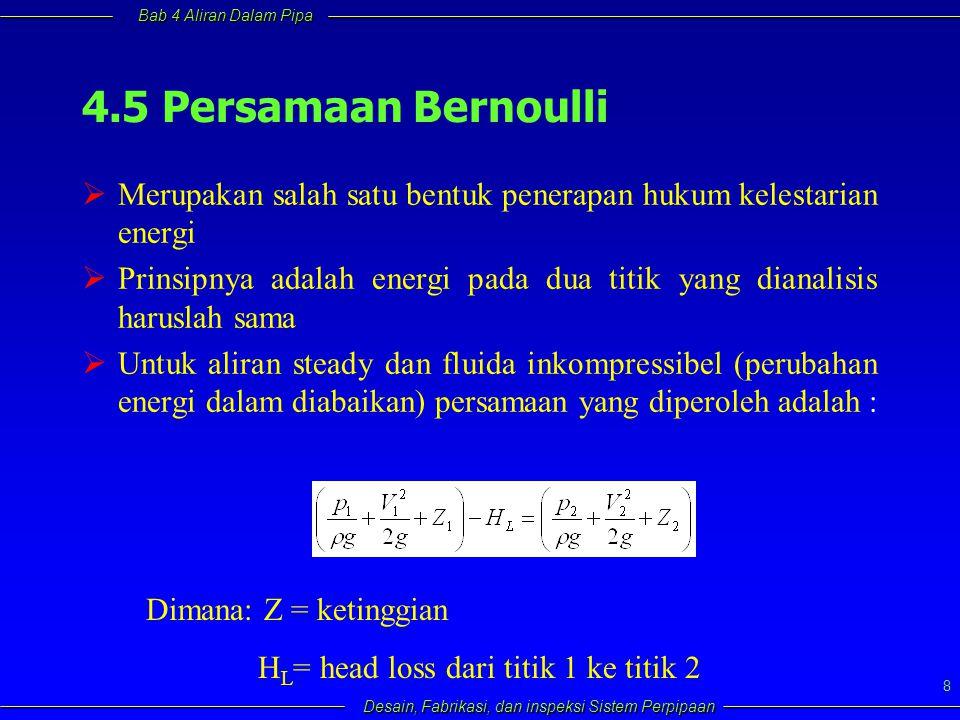 Bab 4 Aliran Dalam Pipa Desain, Fabrikasi, dan inspeksi Sistem Perpipaan 8 4.5 Persamaan Bernoulli  Merupakan salah satu bentuk penerapan hukum keles