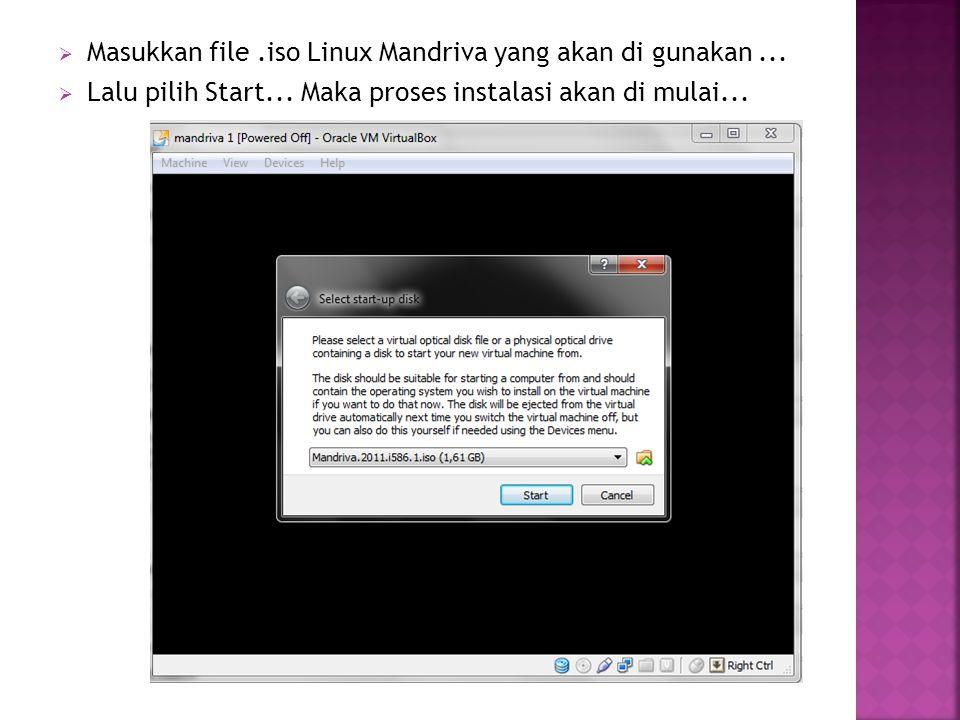  Masukkan file.iso Linux Mandriva yang akan di gunakan...  Lalu pilih Start... Maka proses instalasi akan di mulai...