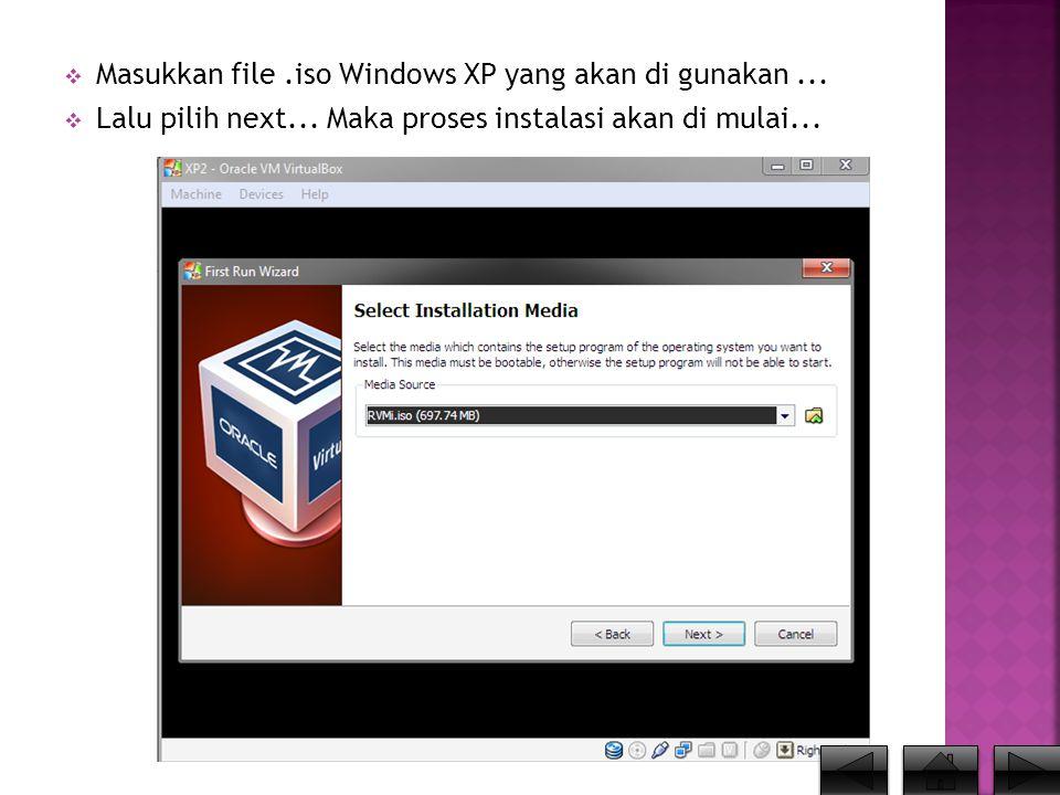  Kita atur Partisi Harddisk Virtual PC yg nantinya akan di isi oleh Windows XP....