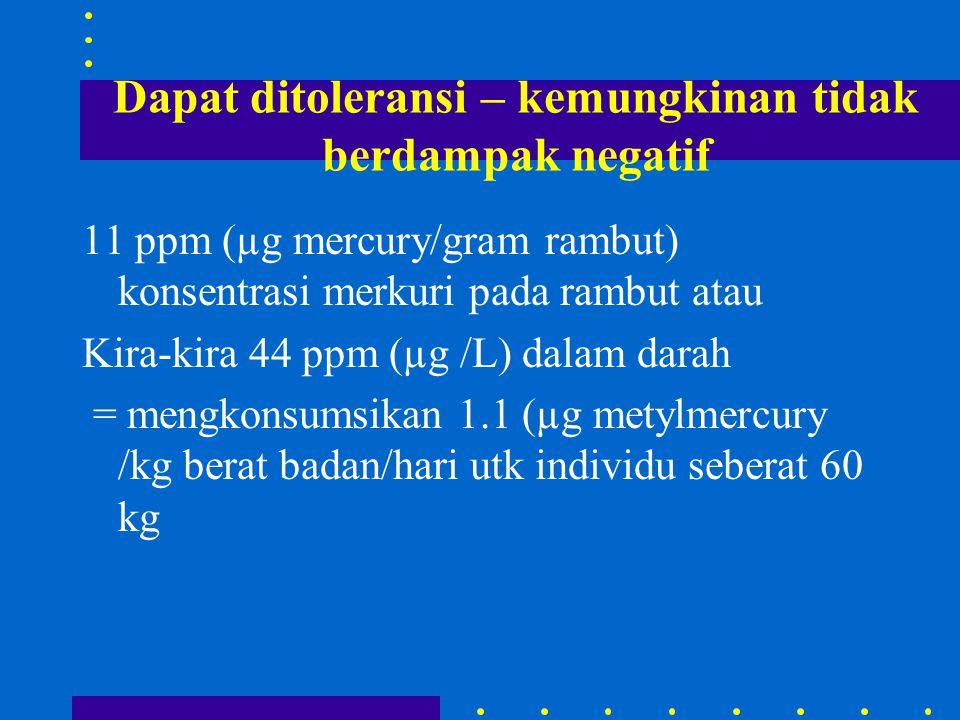 Dapat ditoleransi – kemungkinan tidak berdampak negatif 11 ppm (µg mercury/gram rambut) konsentrasi merkuri pada rambut atau Kira-kira 44 ppm (µg /L) dalam darah = mengkonsumsikan 1.1 (µg metylmercury /kg berat badan/hari utk individu seberat 60 kg